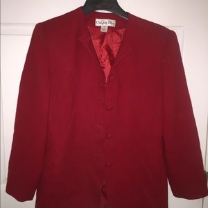 Christian Dior red blazer with skirt